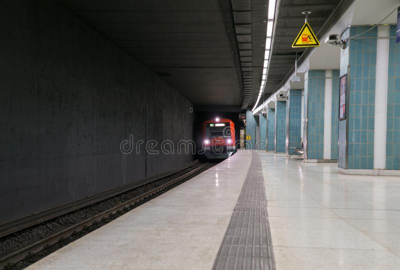Estaci?n de metro del metro de Hamburgo alemania imagenes de archivo