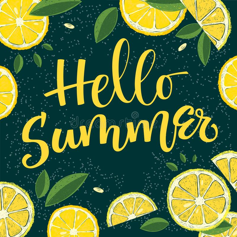 Estaci?n de verano - hola verano - caligraf?a colorida del handwrite stock de ilustración