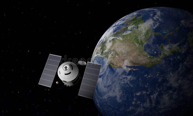 Estaci?n espacial que est? en ?rbita escena de Earth ilustraci?n 3D stock de ilustración