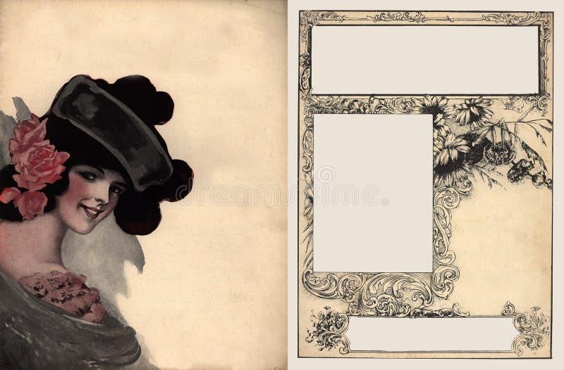 Estacionário antigo embellished com menina bonita fotografia de stock royalty free
