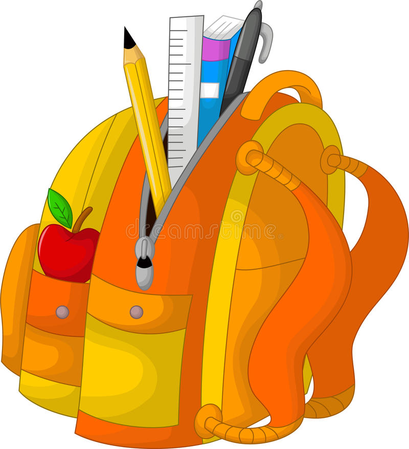 Estacionário bonito no saco com maçã ilustração do vetor