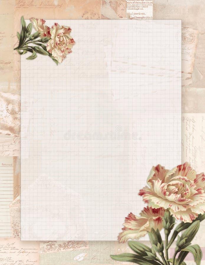 Estacionário floral do estilo chique gasto imprimível do vintage no fundo do papel verde ilustração do vetor