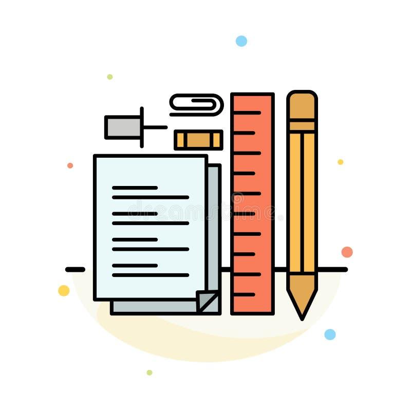 Estacionário, lápis, pena, bloco de notas, molde de Pin Abstract Flat Color Icon ilustração royalty free