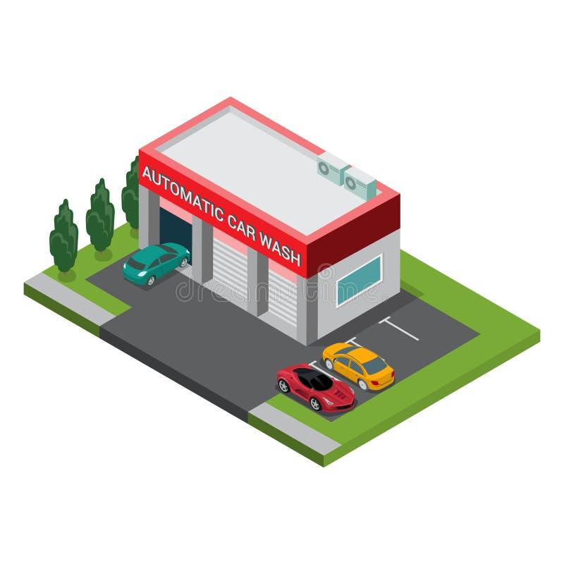 Estacionamento automático isométrico liso da construção da lavagem de carros ilustração do vetor