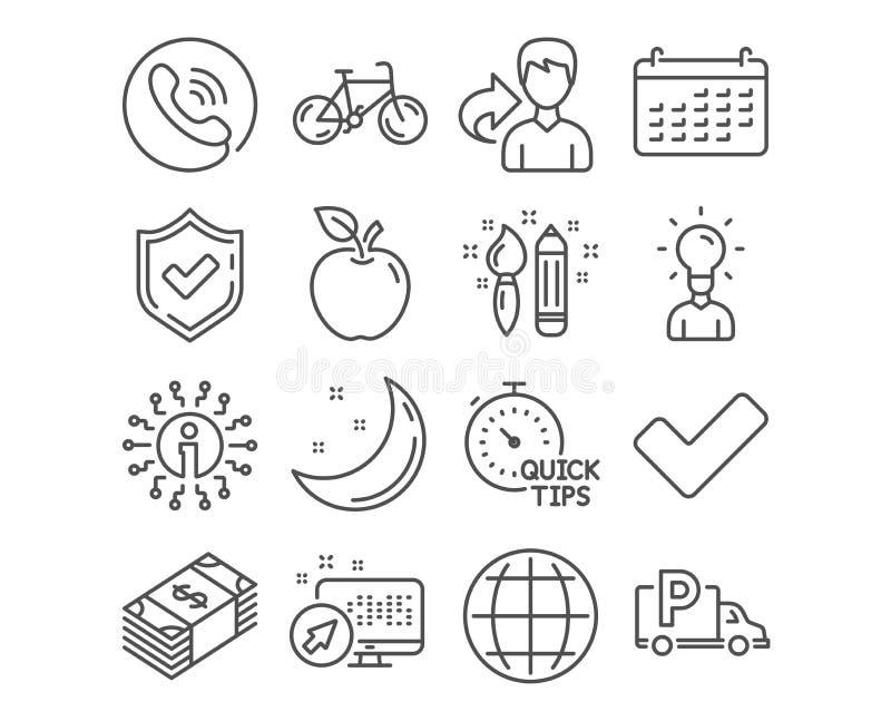 Estacionamento da bicicleta, do caminhão e ícones do calendário Faculdade criadora, tiquetaque e Usd de sinais de moeda Vetor ilustração royalty free