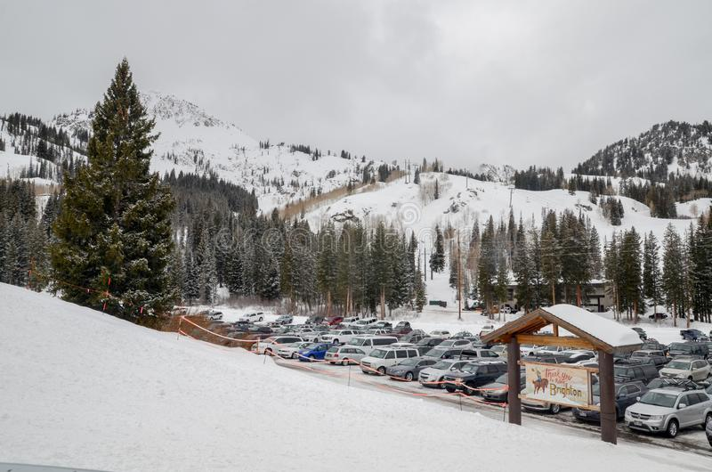 Estacionamento de Ski Resort em Utá EUA imagem de stock