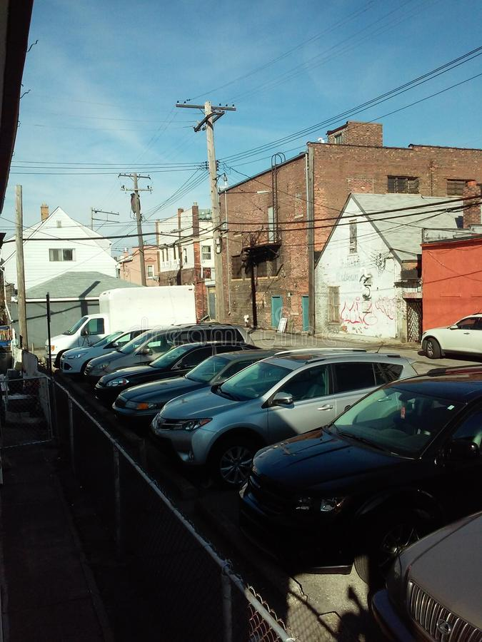 Estacionamento público da cidade fotografia de stock
