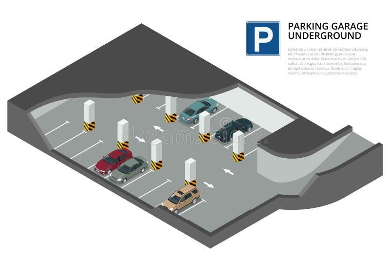 Estacionamento subterrâneo com carros Parque de estacionamento interno Serviço de estacionamento urbano do carro ilustração stock