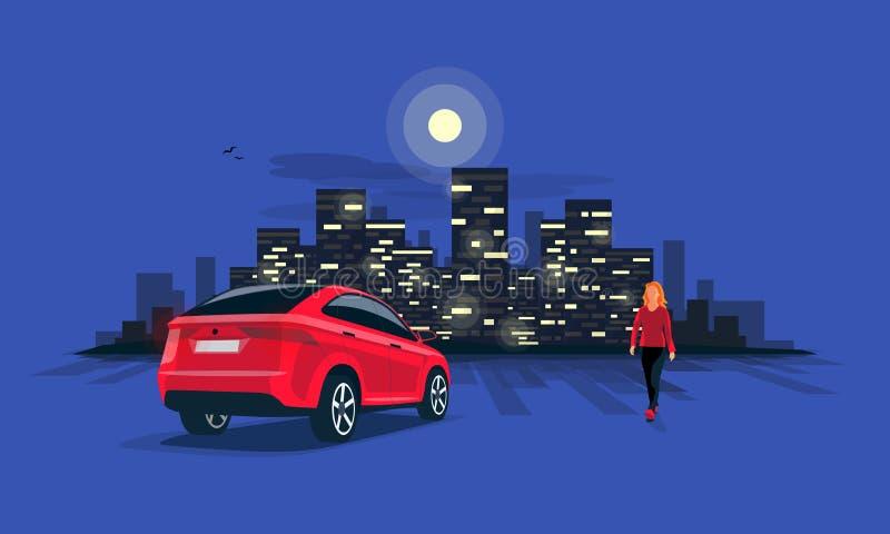 Estacionamento vermelho do carro de Suv na noite com a mulher na skyline da cidade da noite ilustração do vetor