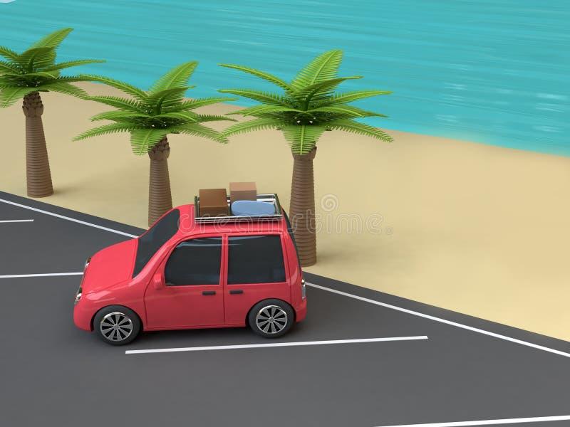 Estacionamento vermelho do curso de carro no mar azul da praia com estilo 3d dos desenhos animados das árvores da coco-palma par ilustração do vetor