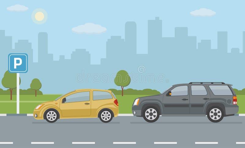 Estacionamiento con dos coches en fondo de la ciudad libre illustration