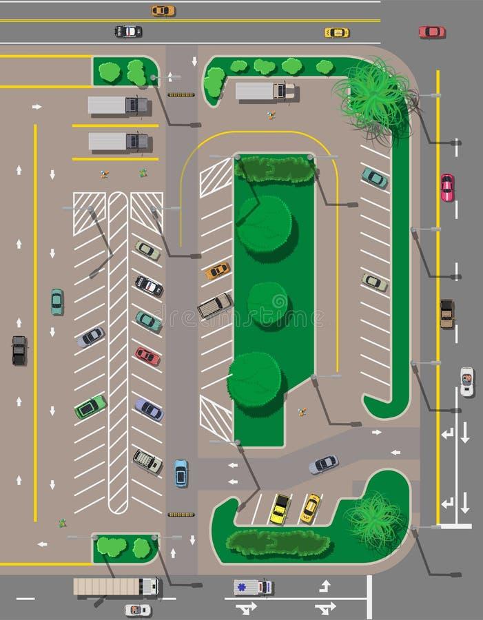 Estacionamiento de la ciudad con diversos coches stock de ilustración