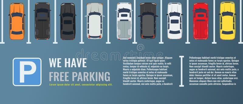 Estacionamiento de la ciudad con un grupo de opinión superior de diversos coches Coche-parque público Ejemplo plano del vector pa ilustración del vector