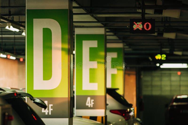 Estacionamiento del coche con los sensores y las presentaciones de la información electrónicas foto de archivo libre de regalías
