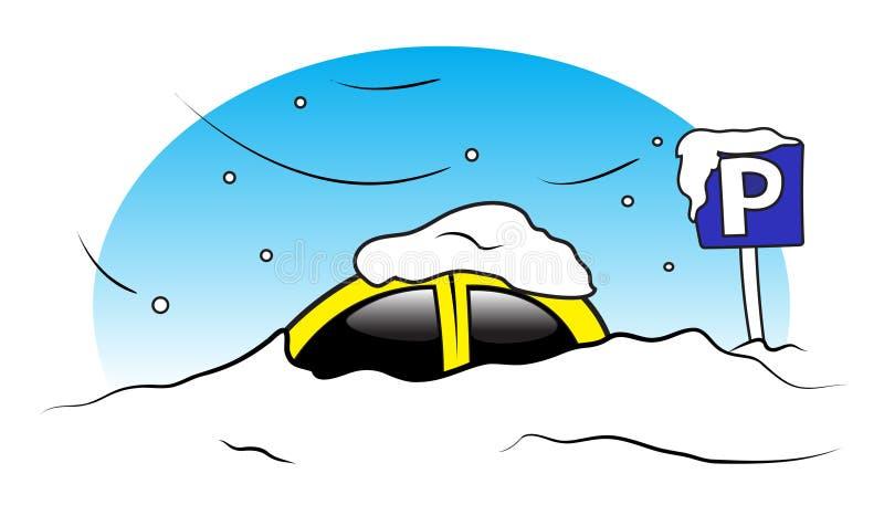 Estacionamiento del coche del invierno stock de ilustración