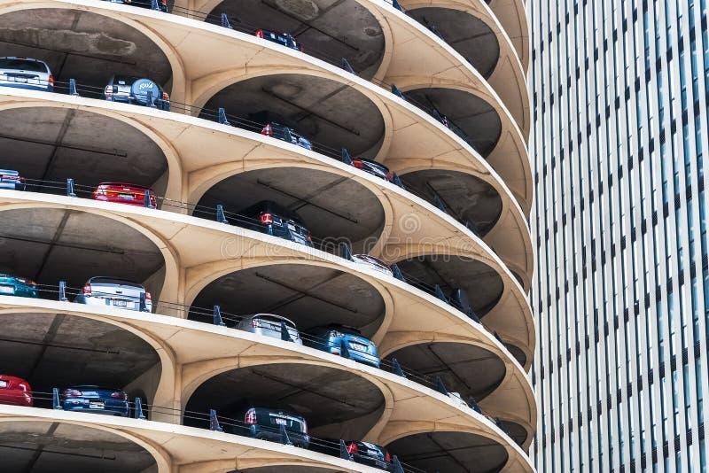 Estacionamiento del espiral de Marina City, Chicago foto de archivo
