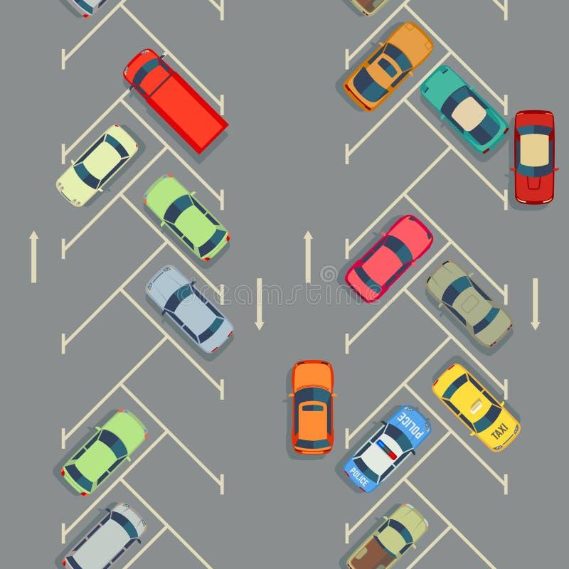 Estacionamiento inconsútil de la textura de los coches urbanos con los coches stock de ilustración