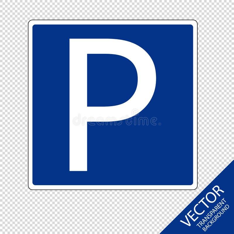 Estacionamiento o muestra del parque para los coches y los vehículos - ejemplo del vector - aislados en fondo transparente stock de ilustración