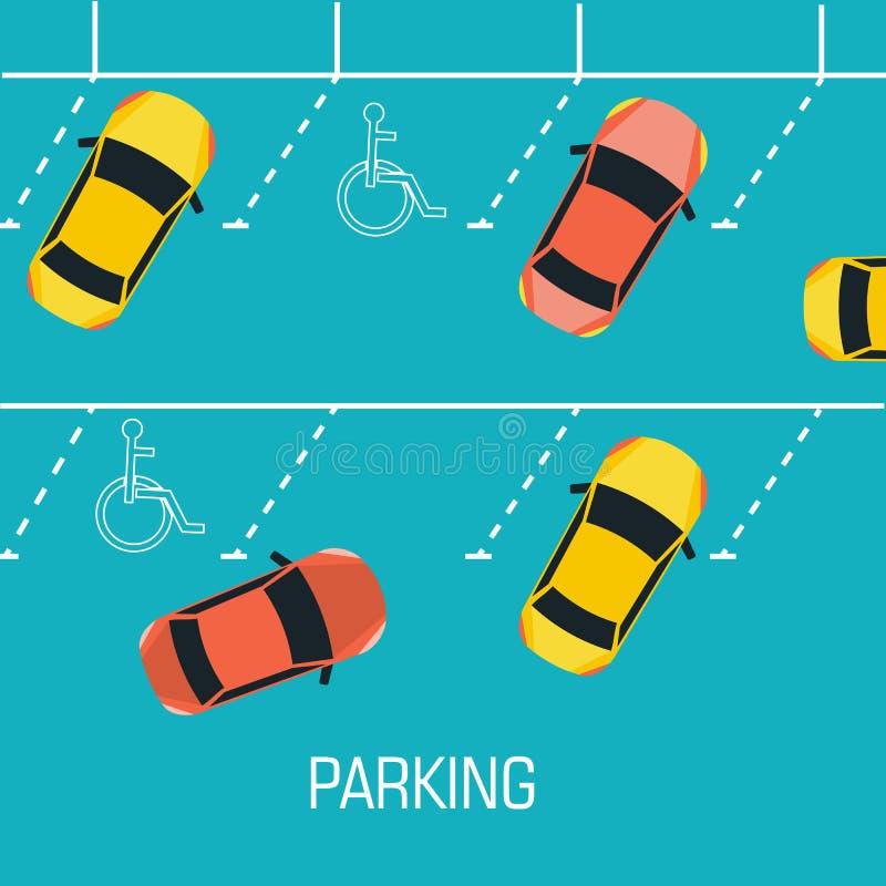 Estacionamiento plano un concepto del fondo del coche Vector ilustración del vector