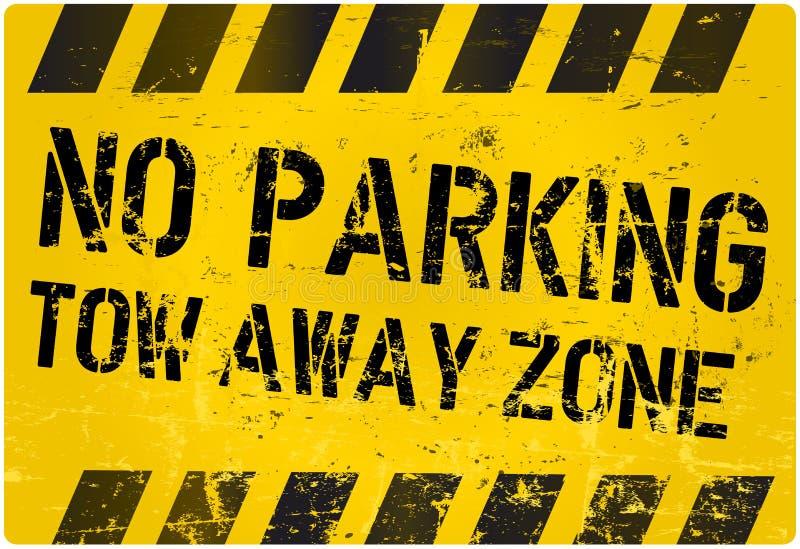 Estacionamiento prohibido, zona ausente de la remolque ilustración del vector