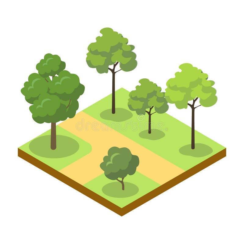 Estacione a aleia com ícone 3D isométrico das árvores grandes ilustração do vetor