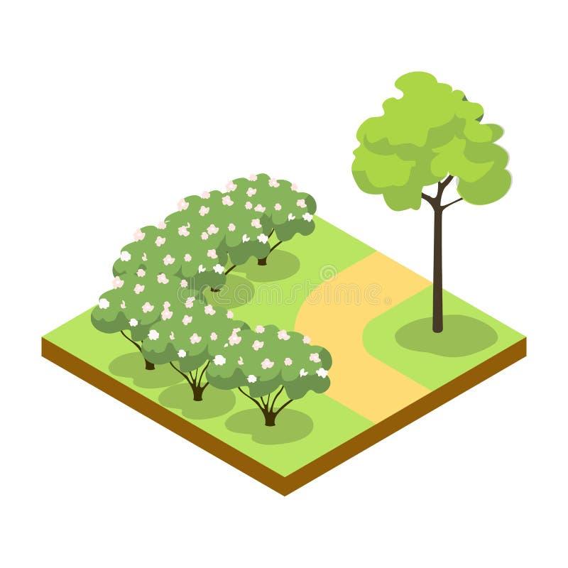 Estacione a aleia com arbustos e ícone 3D isométrico da árvore ilustração do vetor