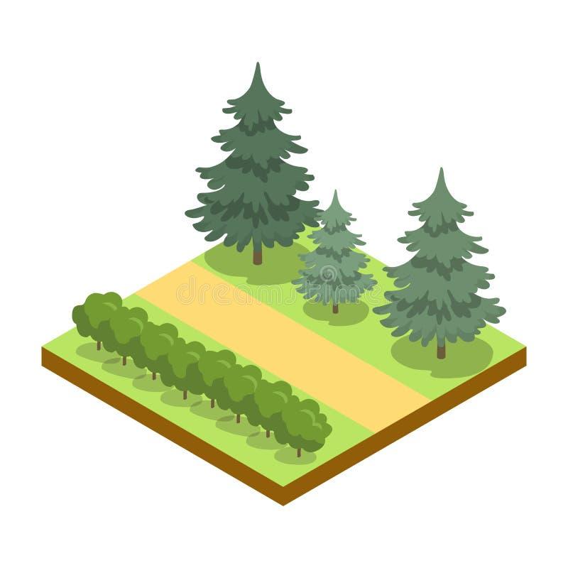 Estacione a aleia com arbustos e ícone 3D isométrico dos pinhos ilustração stock