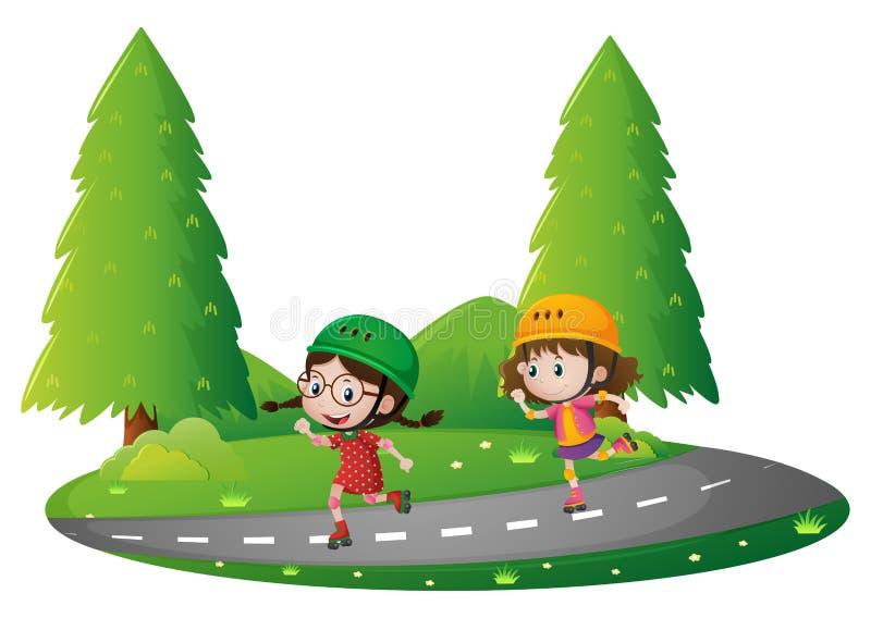 Estacione a cena com as duas meninas que patinam na estrada ilustração royalty free