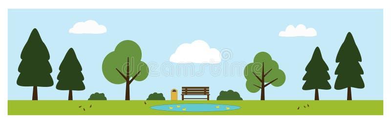 Estacione a cena com banco, lagoa com patos, árvores, arbustos, pássaros e nuvens foto de stock