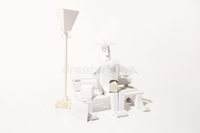 Estacione o homem de cena que tem o almoço no banco e a lâmpada cortada do papel ilustração do vetor