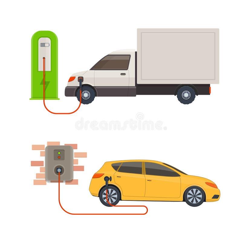 estaciones de carga del Eléctrico-coche Vehículos eléctricos en carga ilustración del vector