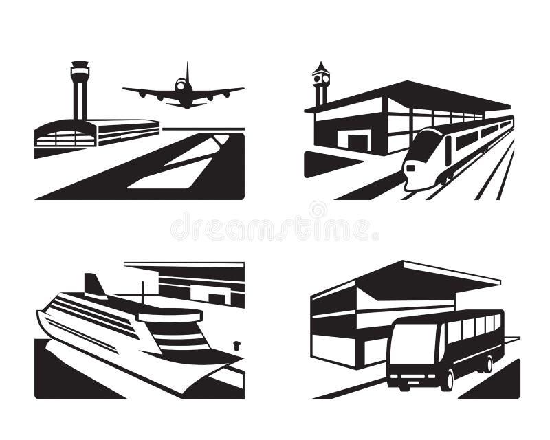 Estaciones de transporte con los vehículos en perspectiva ilustración del vector