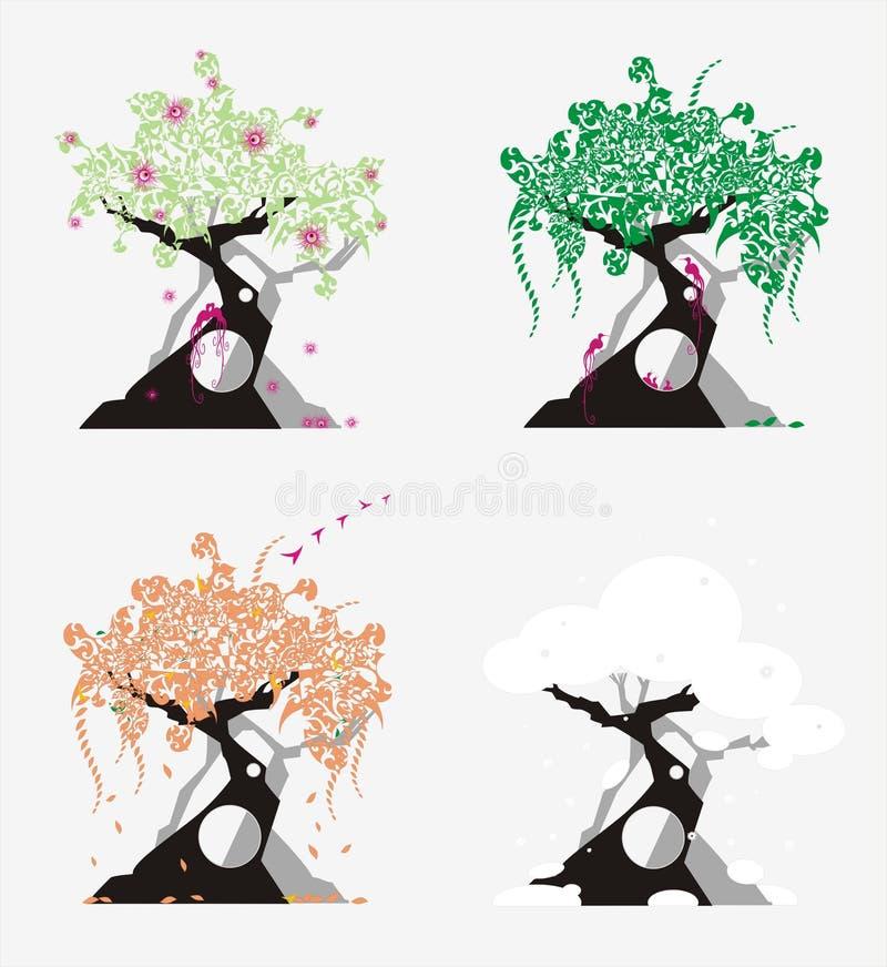 Estaciones del año como árboles stock de ilustración