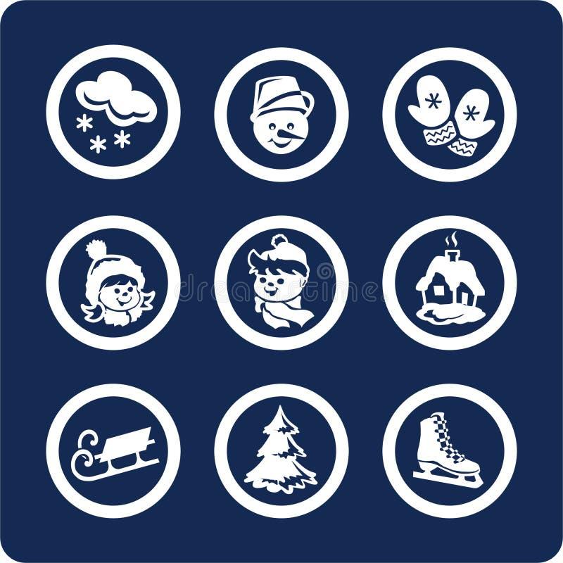 Estaciones: Iconos del invierno (fije 3, parte 1) ilustración del vector
