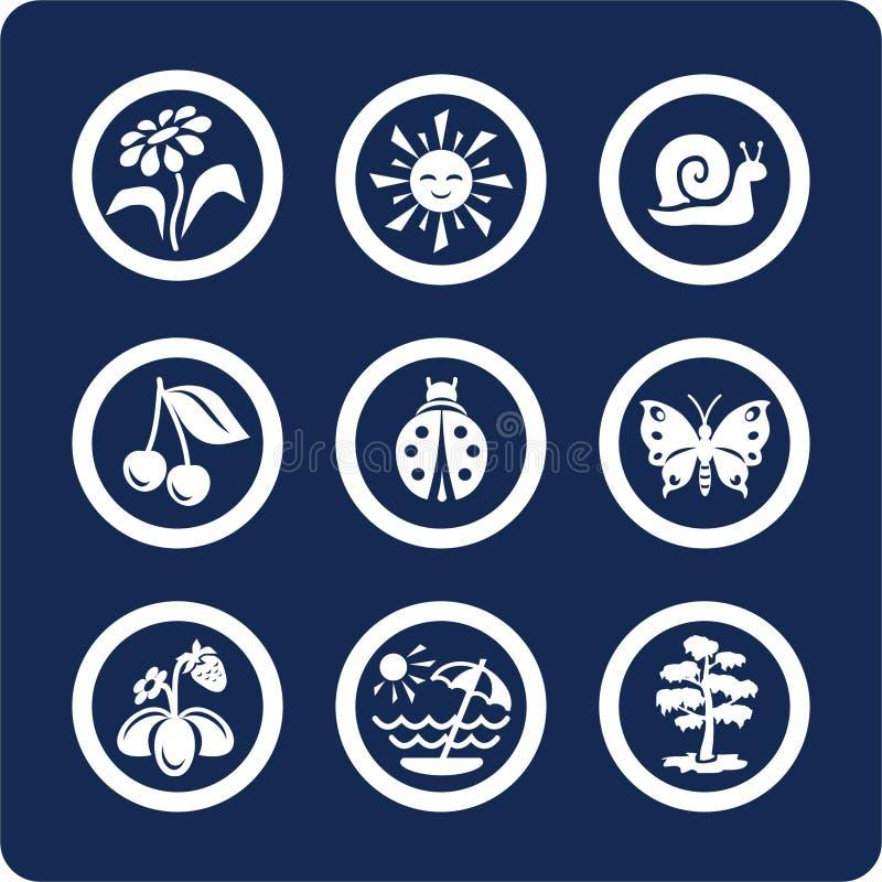 Estaciones: Iconos del verano (fije 4, parte 2) stock de ilustración