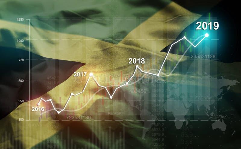 Estadística cada vez mayor 2019 financiero contra la bandera de Jamaica stock de ilustración