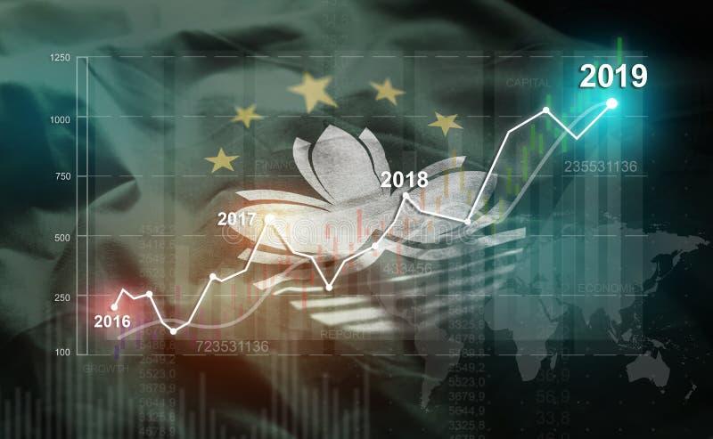 Estadística cada vez mayor 2019 financiero contra la bandera de Macao ilustración del vector