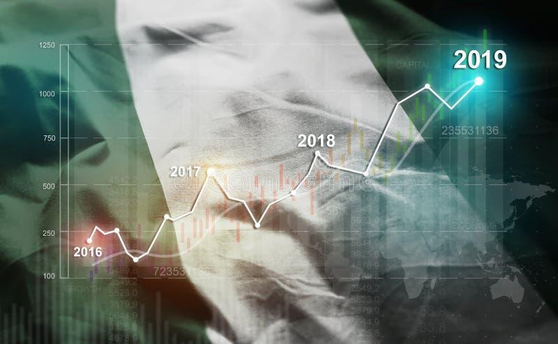 Estadística cada vez mayor 2019 financiero contra la bandera de Nigeria fotos de archivo