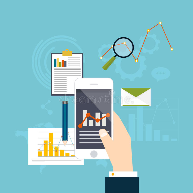 Estadística de la información del Analytics del web y del sitio web del desarrollo fla ilustración del vector
