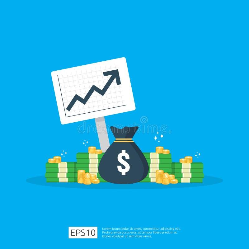 estadística del aumento de la tarifa de dólar del sueldo de la renta ingresos del margen del aumento de beneficios del negocio Fu stock de ilustración