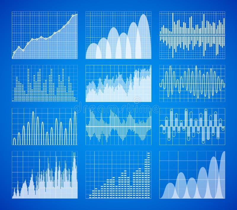 Estadística, gráficos de los datos de negocio, sistema del vector de las cartas Elementos infographic de la información ilustración del vector