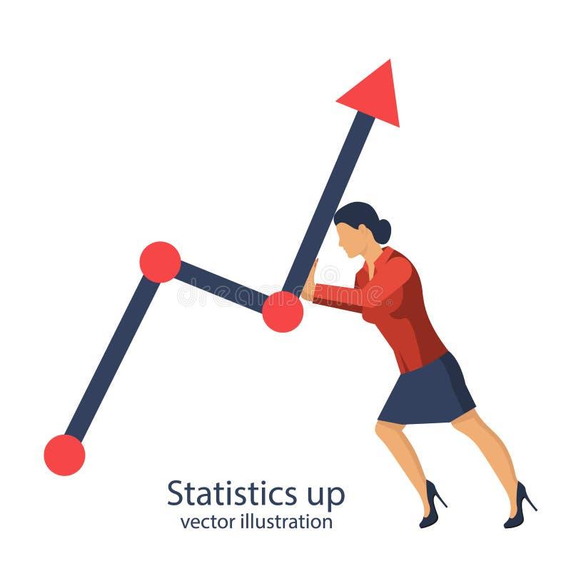 Estadísticas de la empresaria para arriba stock de ilustración