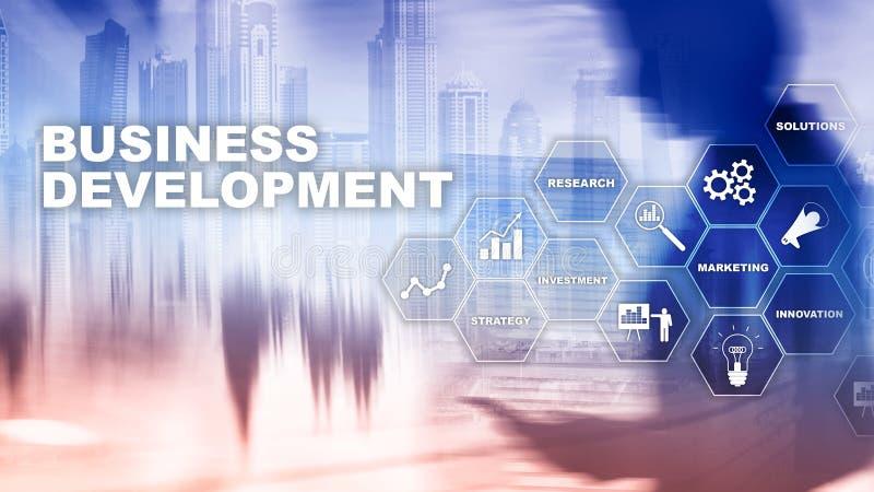 Estadísticas de lanzamiento del crecimiento del desarrollo de negocios Concepto gráfico del plan del proceso de desarrollo financ libre illustration