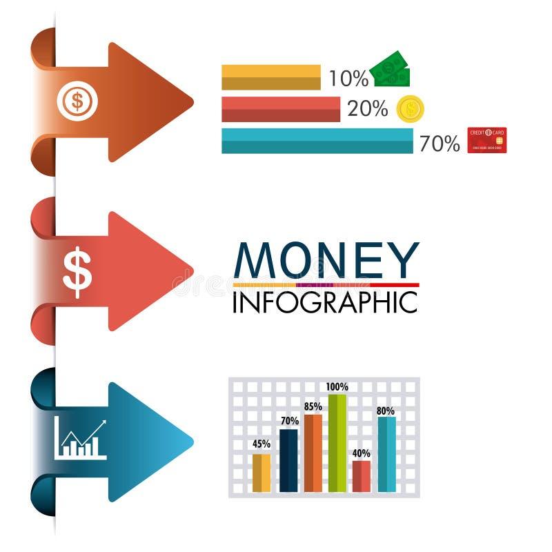 Estadísticas de los ahorros del crecimiento y del dinero del negocio ilustración del vector