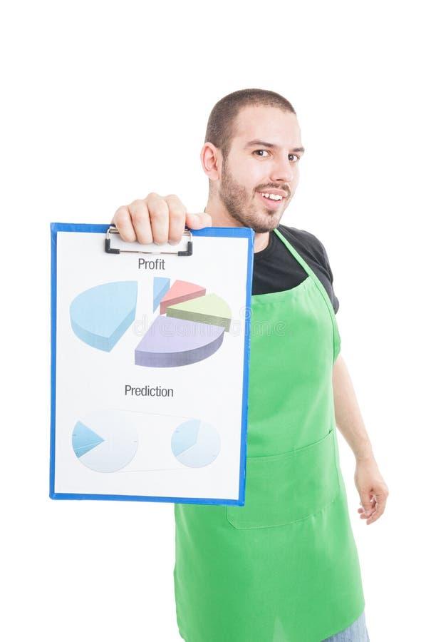 Estadísticas del beneficio y de la predicción de la demostración del vendedor del supermercado foto de archivo