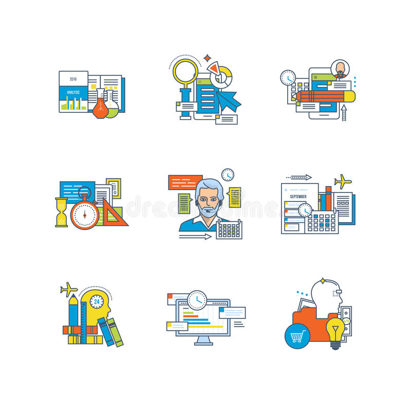 Estadísticas, educación, investigación, planeamiento, gestión de tiempo, comunicaciones, creativas, procesos de negocio ilustración del vector
