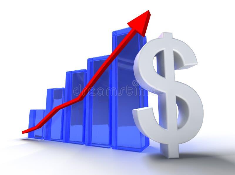 Estadísticas y dólar stock de ilustración