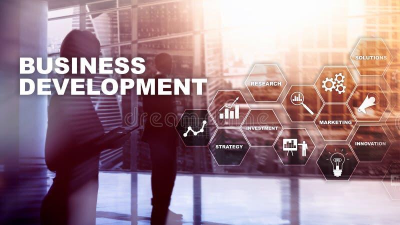 Estad?sticas de lanzamiento del crecimiento del desarrollo de negocios Concepto gr?fico del plan del proceso de desarrollo financ foto de archivo libre de regalías
