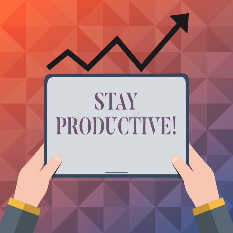 Estada da exibição do sinal do texto produtiva Produtividade conceptual da concentração da eficiência da foto ilustração do vetor