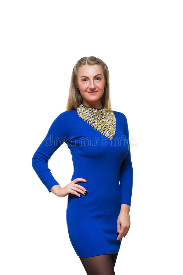 Estada da moça da forma em linha reta no azul de lã fotografia de stock royalty free